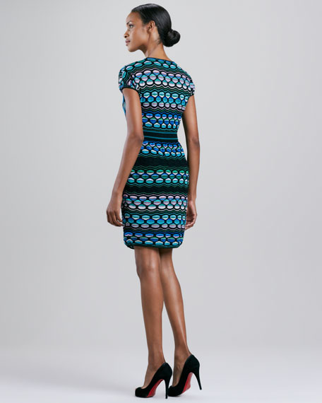 Puckered Wave Stripe Dress