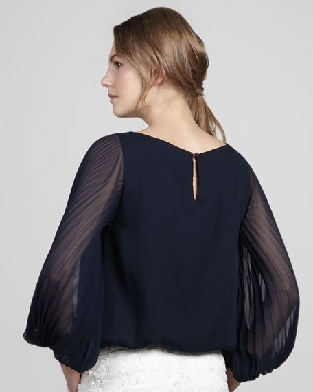 Elayne Pleat-Sleeve Silk Blouse