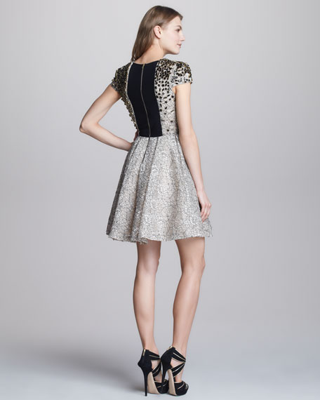 Aubree Bead-Top Lace Dress