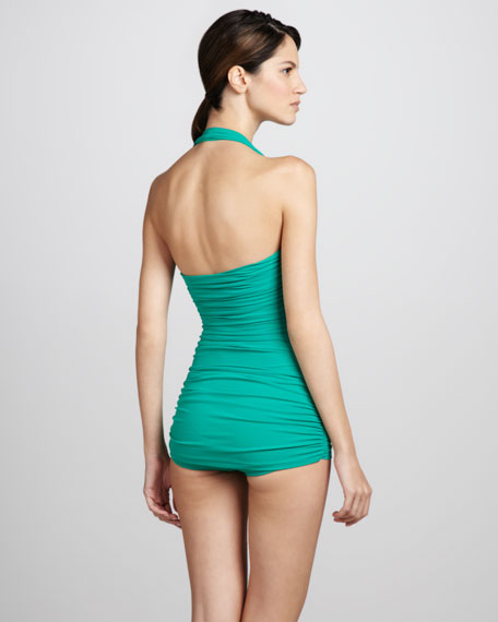 Bill Ruched One-Piece Swimsuit, Net Green