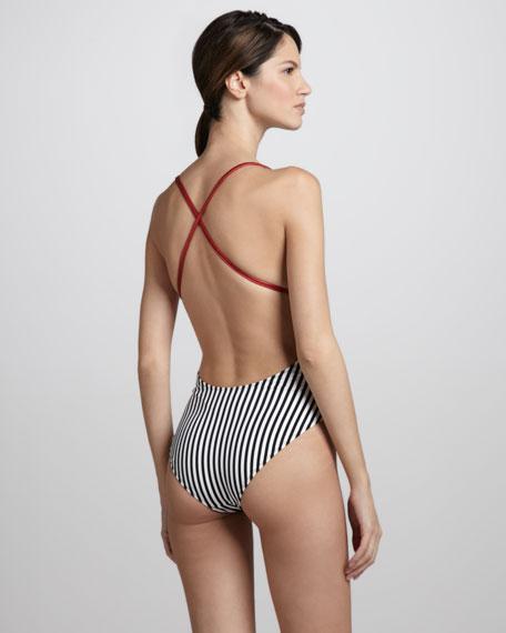 Mio Striped One-Piece Swimsuit