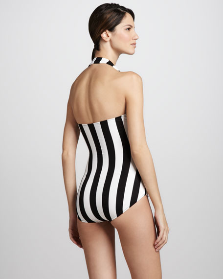 Striped Halter Maillot Swimsuit