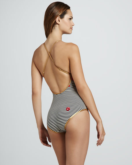 Mademoiselle Striped Lip-Print Maillot
