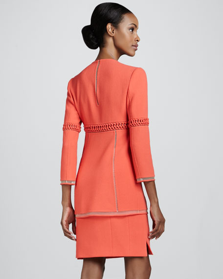 Wool Crepe Straight Skirt, Coral