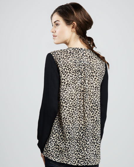 Leopard-Print Georgette Shirt