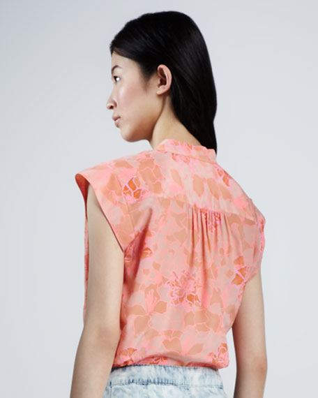Hibiscus-Print Poplin Blouse