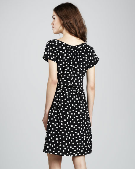 Polka-Dot Silk Tie-Waist Dress
