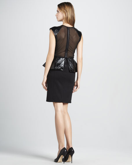 Cecil Leather-Peplum Dress