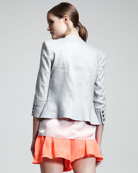 Glossy Linen-Twill Blazer
