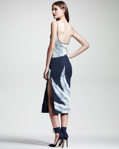Swan-Print Scuba Dress