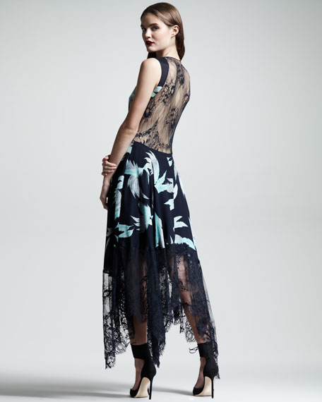 Swan-Print Lace-Hem Dress