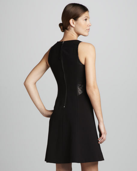 Leather-Panel Crepe Dress