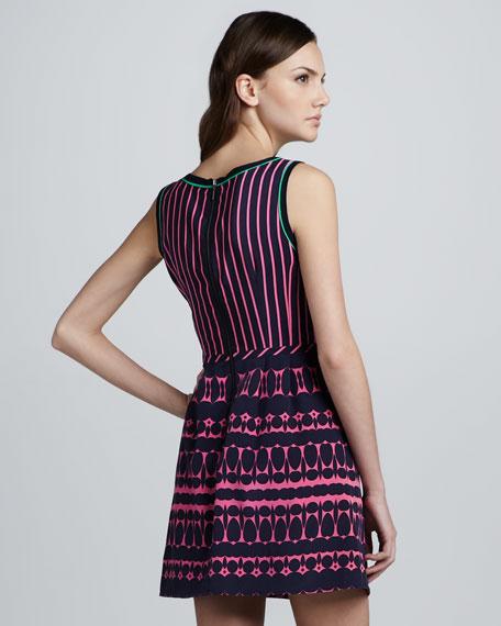 Striped Printed Sleeveless Dress