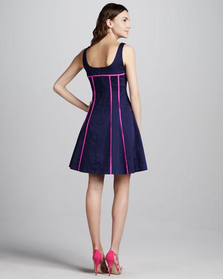 Contrast Zip-Pocket Dress