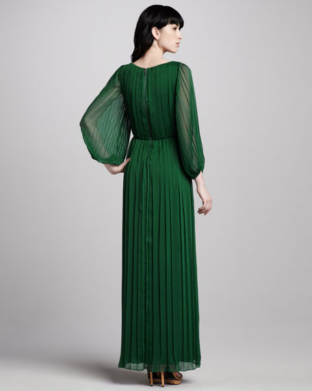 Jennie Pleated Sheer-Sleeve Maxi Dress