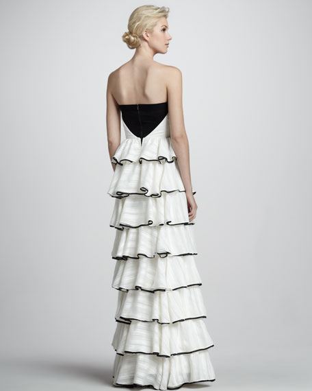 Aurora Strapless Tiered Gown