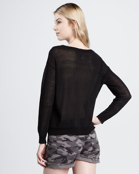 Lace-Inset Knit Sweatshirt