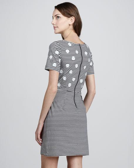 Willa Dotted Striped Dress, Tapioca
