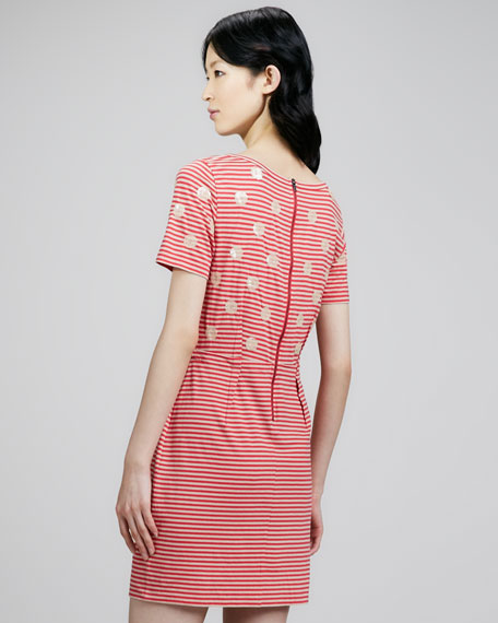 Willa Dotted Striped Dress, Peanut Brittle