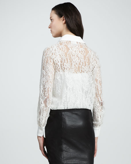 Lace Button-Down Blouse