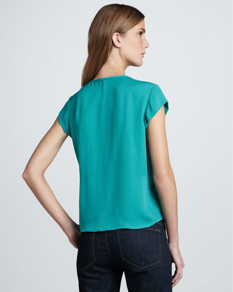 Shanti Pleated Cap-Sleeve Top, Juniper