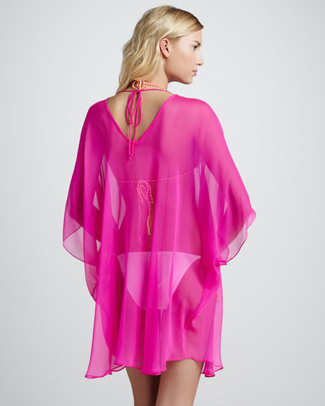 Beverly Sheer Chiffon Coverup, Fuchsia