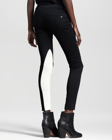 Jodhpur Leather-Panel Skinny Jeans