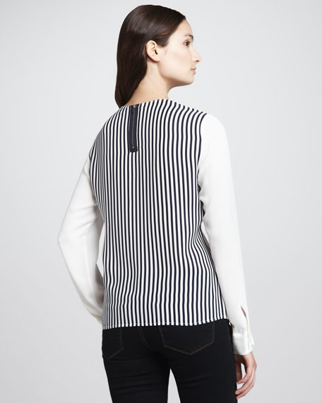 Mariya Solid-Sleeve Striped Blouse