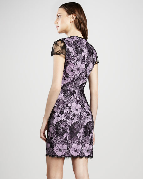Lace Overlay Cap-Sleeve Dress