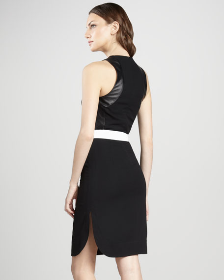 Leather-Trim Sheath Dress