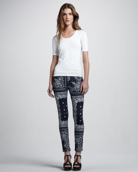 Bandana-Print Ankle Jeans