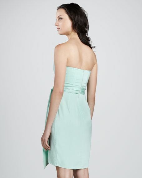 Strapless Charmeuse Mock-Wrap Dress