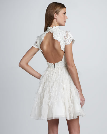 Feather-Skirt Open-Back Dress