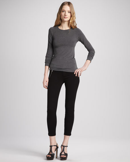 Carey Jeweled Zip Skinny Jeans, Black