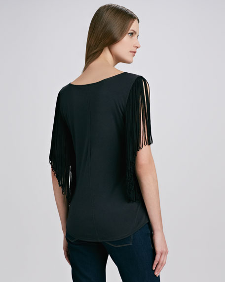 Fringe-Sleeve Jersey Top