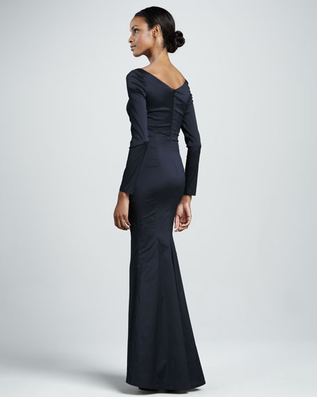 Long-Sleeve Ruched Mermaid Gown