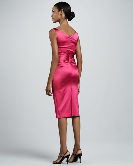 Ruched Satin Cocktail Dress