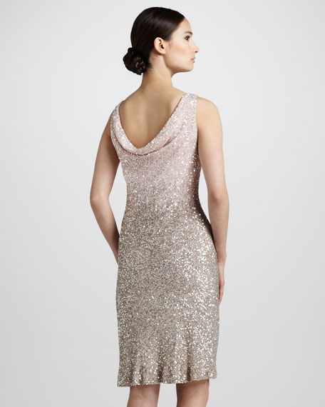 Gradient Sequined V-Neck Dress