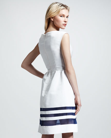 Cristina Sheer-Stripe Faille Dress