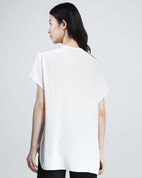 Split-Neck Silk Top