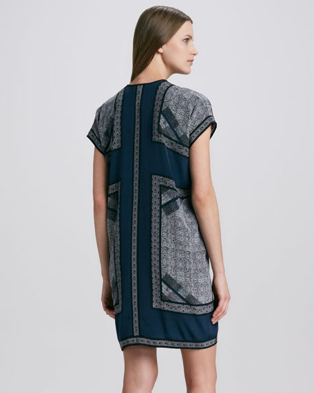 Scarf-Print Tunic Dress