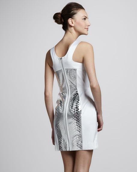 Snake-Print-Panel Dress