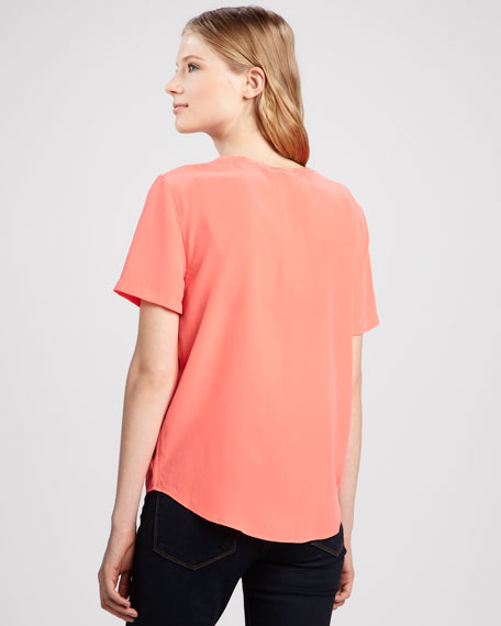Riley Short-Sleeve Silk Blouse