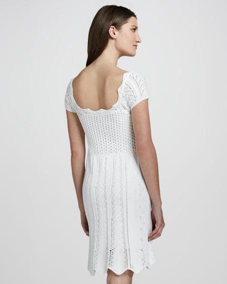 Pointelle Cap-Sleeve Dress