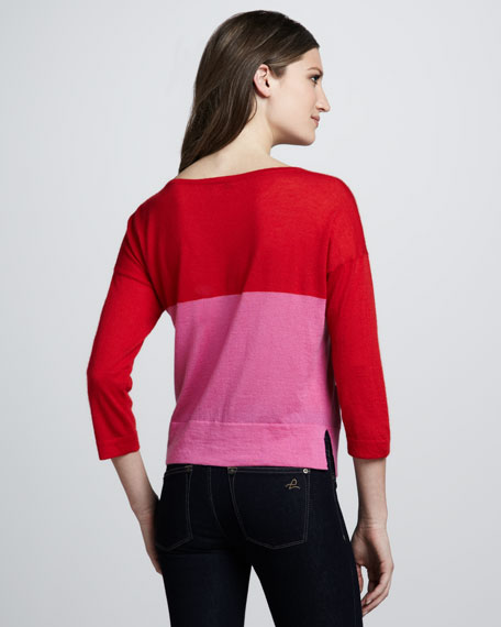 Colorblock Boxy Cashmere Sweater