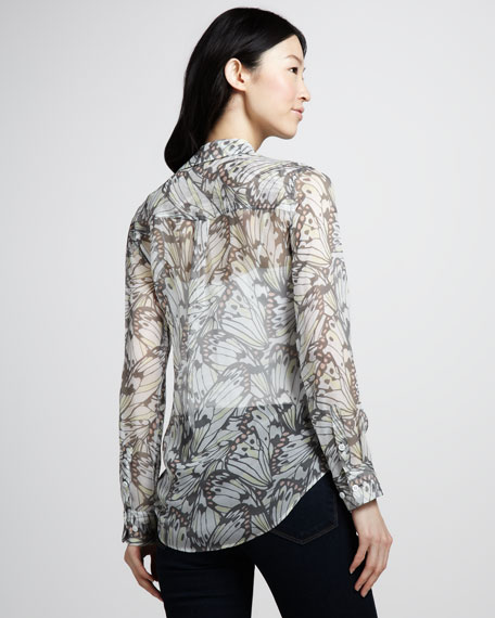 Slim Signature Butterfly Wing-Print Blouse