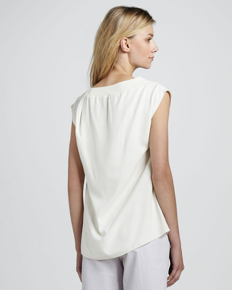 Boat-Neck Cap-Sleeve Top