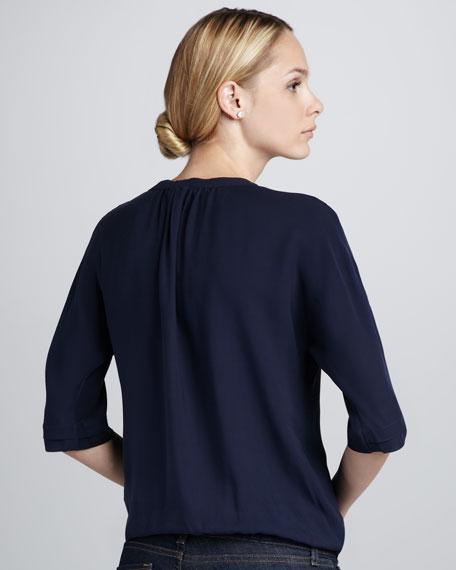 Marru Split-Neck Silk Top