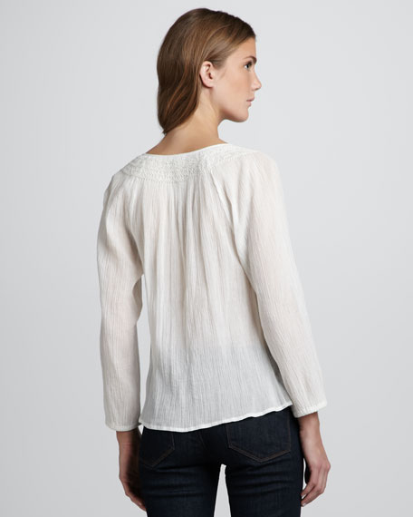 Meliana Long-Sleeve Peasant Blouse