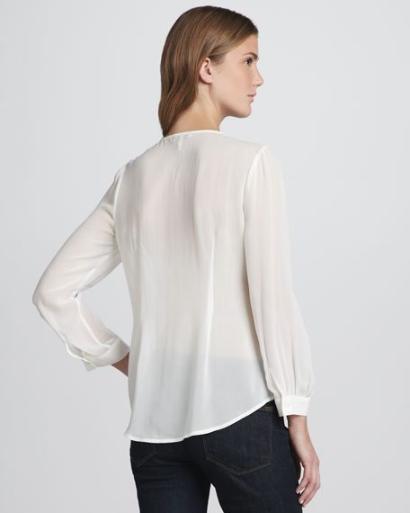 Ombre Tri-Tone Long-Sleeve Top